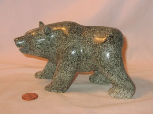 "5"" Gray W/White Spots Stone Carved & Polished Bear Figurine; Signed By RC"
