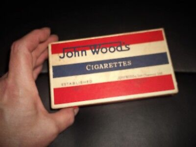 VINTAGE EMPTY CARDBOARD CIGARETTE BOX JOHN WOOD'S RED OUTER PLUS INNER LABEL