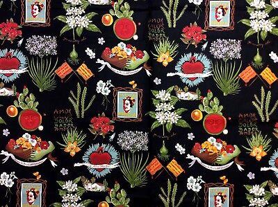 AH268 Frida Kahlo Viva Frida Mexico Folk Art Diego Rivera Cotton Quilt (Fabric Art Quilt)