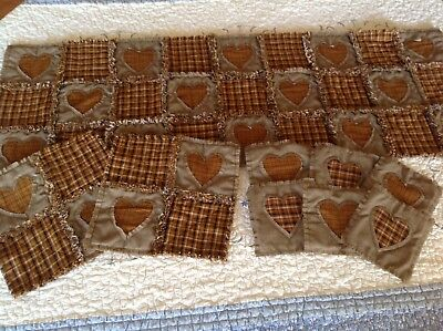 PriMiTivE HoMEsPuN Rag Quilt Table Runner  2 Hot Pads 6 Coaster 9 piece set NEW!