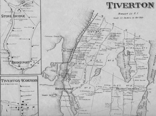 Tiverton Bliss Corners RI 1870 Map with Homeowners Names Shown
