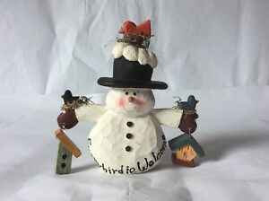 Christmas Snowman Statue-Carved out of Wood Christmas Decoration, Figurine