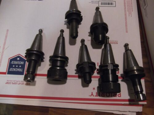 Lyndex&OTHERS CAT40 End Mill Tool Holder Collet Holder LOT OF SEVEN ASSORTED