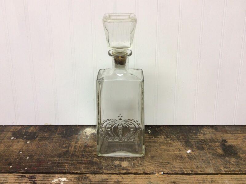 Rare Vintage Crown Royal Whiskey Decanter Glass Liquor Bottle w/ Stopper