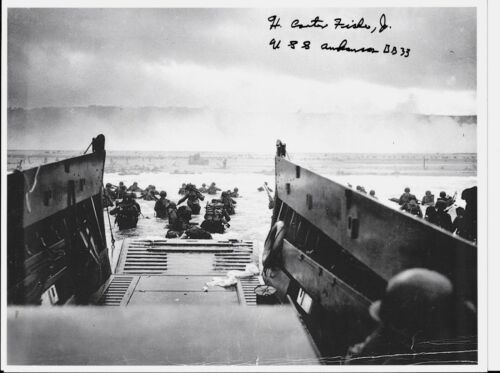 H CARTER FISHER USS ARKANSAS D-DAY & IWO JIMA NAVY VETERAN RARE SIGNED PHOTO
