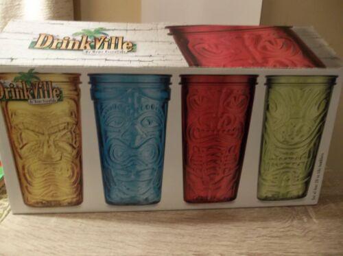 SET OF 3 TIKI GLASSES NEW 20 OZ BARWARE DRINVKVILLE BY HOME ESSENTIALS TUMBLER