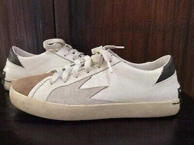 CRIME LONDON White Leather Sneakers Taupe Suede Cap Toe Size 6 VGUC