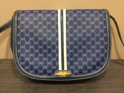 b16e8cb5c GUCCI Original GG Shoulder Bag Navy PVC Leather Italy Vintage Authentic