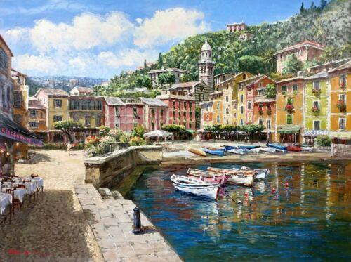 "Sam Park ""harbor At Portofino"" | Signed Giclee/canvas | Large 30x40"" | Gallart"
