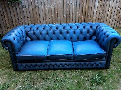 ANTIQUE CHESTERFIELD 3-SEATER BLUE LEATHER SOFA