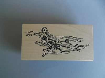 100 PROOF PRESS RUBBER STAMPS TRIO OF MERMAIDS NEW wood STAMP