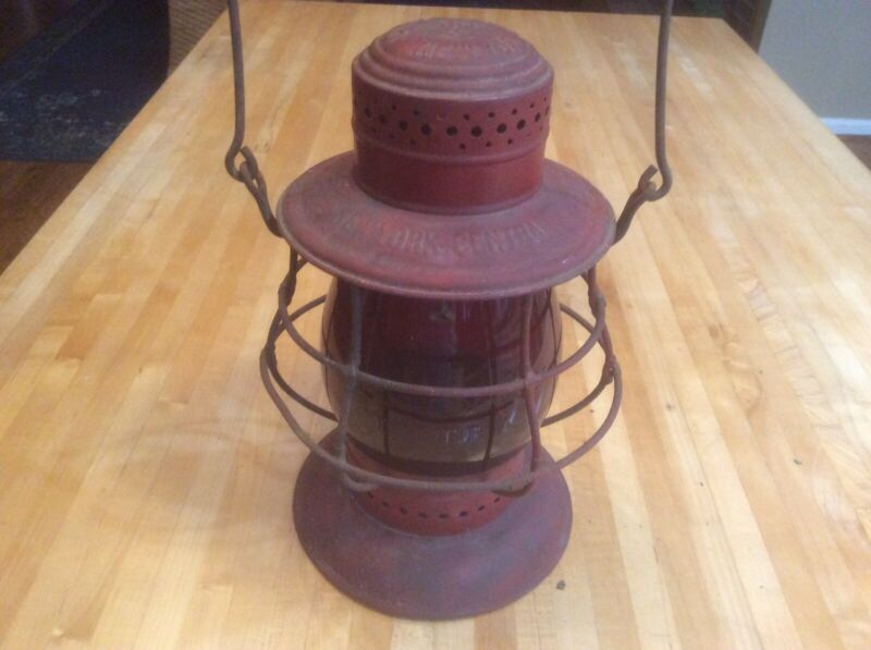 New York Central Dietz No. 6 - Antique Railroad Lantern - Red Globe