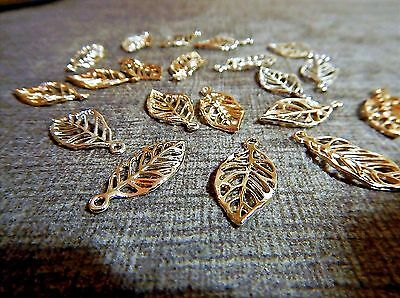 20 PC Open Cutwork Leaf Charms Small Pendants Gold Alloy Two Sided Focal Jewelry
