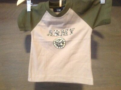 TOBY USA BABY UNISEX TEE SHIRTS NWOT ARMY THEME TEE 9 MO, 12 MO. 18 MO.
