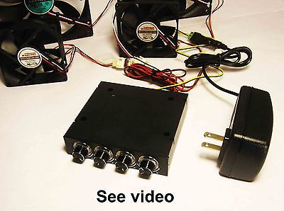 4 Fan DC Speed Control Controller 120VAC/12VDC Adapter Cabinet Cooling 1034*
