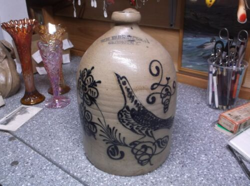 W.H.Farrar & co. Geddes N.Y. stoneware bird crock jug  SUPERB