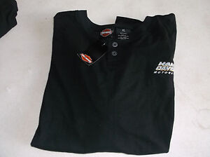 Harley Davidson XL men's henley shirt black new with tags