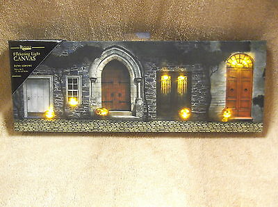 Halloween Doorway Fall Lighted Canvas Wall Decor Sign Haunted Lights Up New](Halloween Wall Decor)