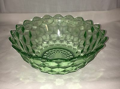 """Jeannette CUBE/CUBIST GREEN *7 1/4"""" POINTED EDGE BOWL*"""