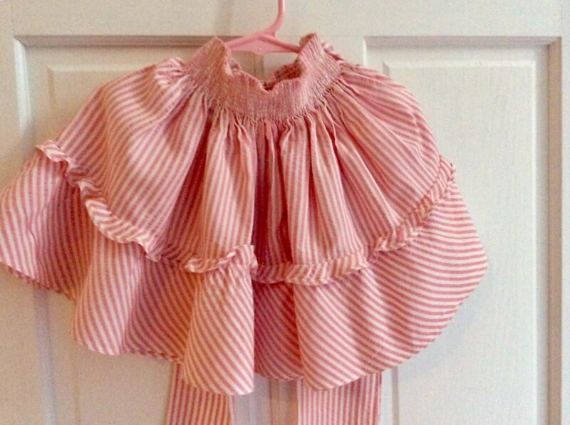 Vintage 1950's Little Girls Pink Stripped Bow Tied Skirt Size 3-5