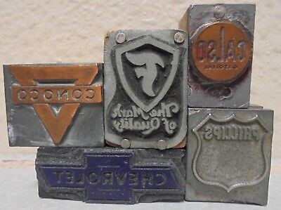 5 Vintage Printing Block Letterpress Blocks Gas Oil Conoco Firestone Phillips