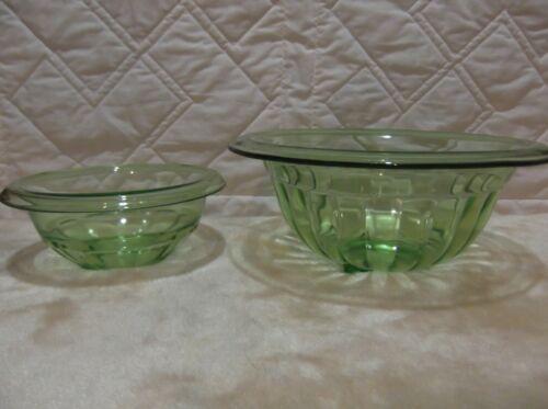 2 Vintage Anchor Hocking Green Vaseline Uranium Depression Glass Ribbed Bowls