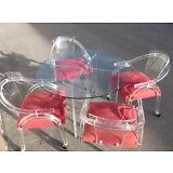 MID CENTURY MODERN CHARLES HOLLIS JONES STYLE LUCITE DINING CHAIRS