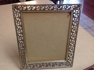 Vintage Picture Frame Filigree Metal Silver Tone Standing 9 1/2 By 7 1/2 Picture