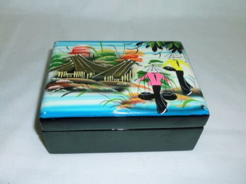 BLACK LACQUER ASIAN HINGED JEWELRY BOX