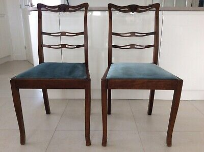 Dining Chairs x 2 - wooden frames, sprung seats, sound, matched pair from OXFORD