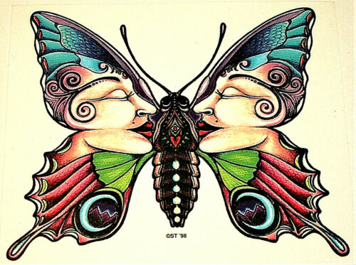 Pychodelic Mod Optical illustion Two Face Fairy Butterfly Sticker New NOS 1998