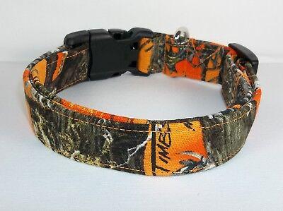 Hunting Camo Blaze Orange Fabric Terri's Dog Collar handmade -
