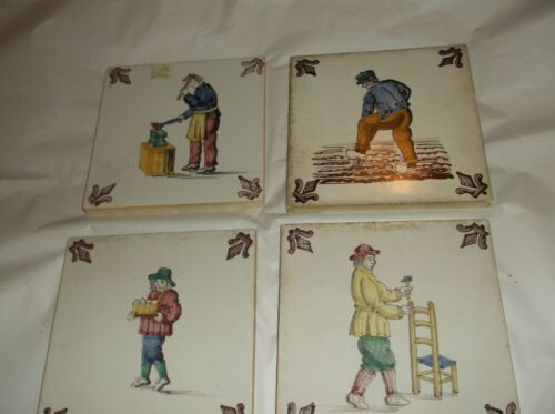 """4 xDelft Polychrome Tiles Antique Blue and White  5"""""""