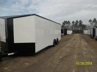 New 8.5x24 V-nose Enclosed Cargo Trailer Car Toy Hauler 8.5x24 5200lb Axles