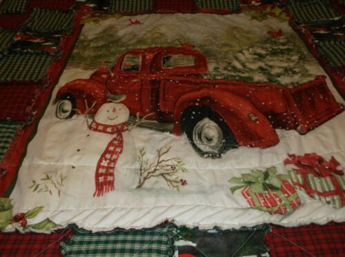 Winter Scene Tree in Back of Red Truck, Frosty Watching, Rag Quilt, Cute Fabric