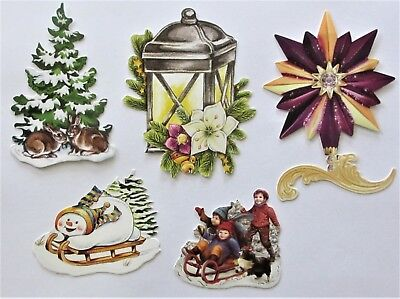 3D Easy Die Cut Card Toppers Christmas Lamps Sleigh Star Tree Children Type 1 - Easy Kids Christmas Crafts