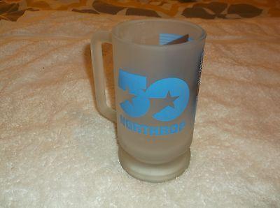 "nef. 50 Year Anniversary Northrop Frosted Glass Mug w/22K Gold Decorations 6"" Hi"