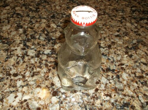 "Vintage Snow Crest Bank Bottle Bank 7"" Glass syrup bears bear Salem Mass insert!"