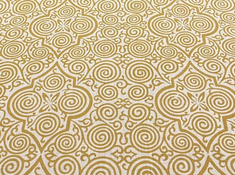 Soane Britain Amazing Hand Block Linen Print Fabric- Persian Maze / Ochre 5 yds