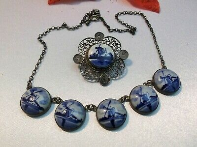 Antique Vintage Delfts Porcelain Blue Windmill Scenic Filigree Necklace Brooch