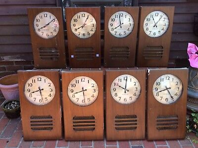 """8 Antique 1939 International ( IBM ) Wood Wall Clocks With Speakers- 10"""" Face"""