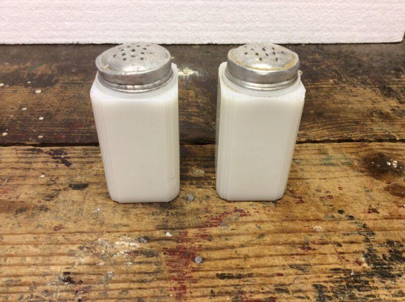 Vintage Tipp City White Milk Glass Salt & Pepper Shakers Art Deco Ribbed Edges