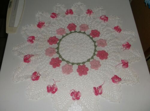 New Hand Crochet Doily   SpringPink color Rose & Butterfly Doily in White
