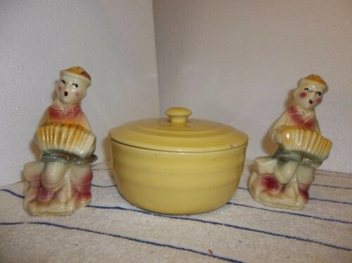 4 Piece Vintage Brown Pottery Range Set Rooster Chickens Salt Pepper Flour Sugar