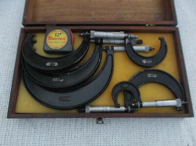 Vintage Set  Starrett 0-6 Micrometer Set 436 With S W Wooden Box