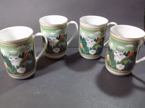 Russ Berrie Cat in Garden mugs