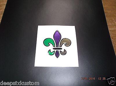Fleur-de-lis Black, Purple, Green and Gold Chrome Decal, Laptop or Car - Purple Green And Gold