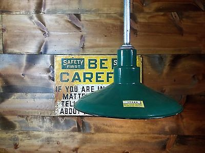 Vintage Spero Industrial Porcelain Green Enamel Gas Station Barn Shade Light  1