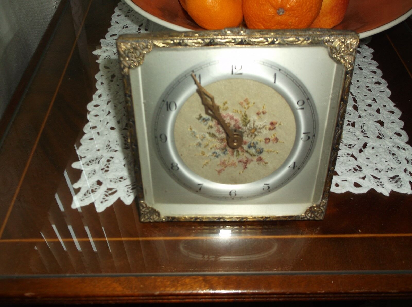 Vintage filigree square  clock Petit point enbroidered measures 5-1/4x5-1/4 inch