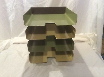 Vintage Heavy Steel 4 Tier Desk Organizer Mosler-harbor Metal Products Mcm Retro